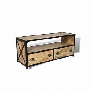 Meuble Vintage Industriel : meuble tv en bois de manguier patin et m tal vieilli ~ Teatrodelosmanantiales.com Idées de Décoration