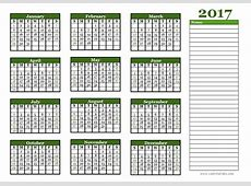 2017 Yearly Calendar With Blank Notes Free Printable