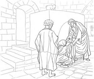 jesus healing peters mother  law coloring page  printable coloring pages