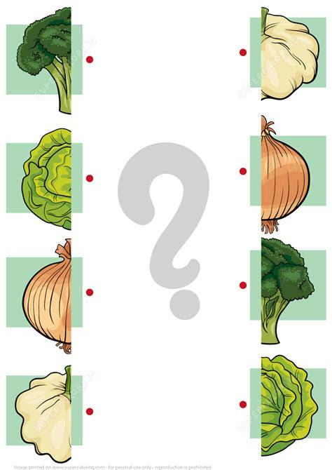 match halves  vegetables worksheet  printable