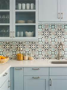 Light Blue Kitchen Backsplash Light Blue Kitchen With Cluny Cement Tile Backsplash Traditional Kitchen Philadelphia By