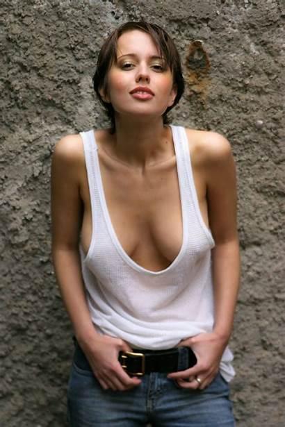 Tank Braless Bra Tops Woman Pretty Brunette