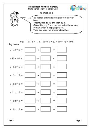 Multiply Teen Numbers Mentally Multiplication Maths Worksheets For Year 6 (age 1011