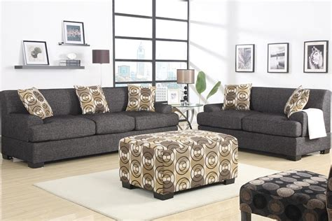 retro style sofa  loveseat set ash black fabric