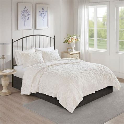 King White Coverlet by 3pc King California King Eugenia Cotton Damask Coverlet