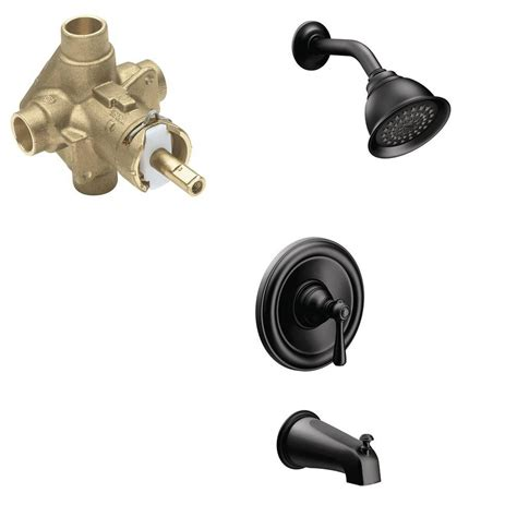 moen kingsley single handle 1 spray positemp tub and shower faucet trim kit with valve in