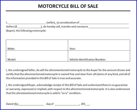 Bill Of Sale Template Word Motorcycle Bill Of Sale Template Ms Word Templates Ms
