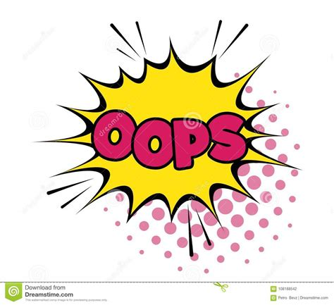 Oops Comic Text Speech Bubble Vector Template Sound