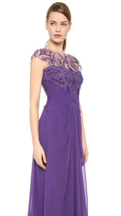 draped in lyst lhuillier embroidered neck draped