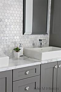 a marble inspired ensuite bathroom budget friendly too With what kind of paint to use on kitchen cabinets for black circle stickers