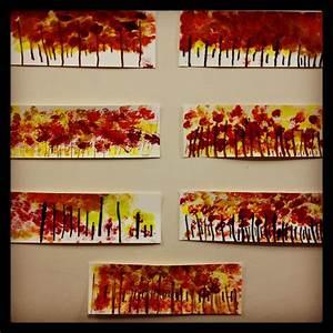 Kindergarten art project- fall tree line. www.bloomshoppe ...