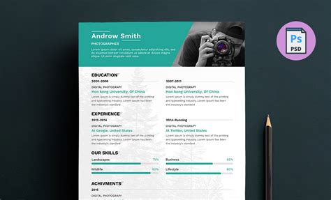 photographer resume template download free psd