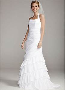 db studio satin side drape wedding dress with tiered skirt With db studio wedding dresses