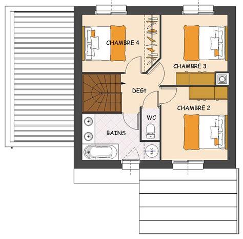 plan maison à étage 4 chambres construction maison neuve mimosa lamotte maisons