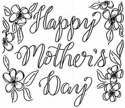 Mothers Mother Coloring Card Happy Flowers Drawing