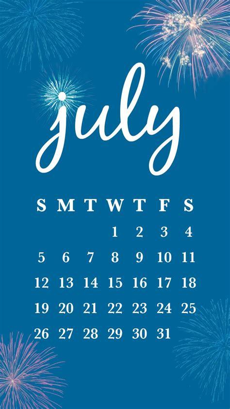 printable july calendar smartphone backgrounds