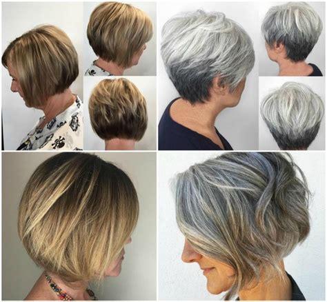 frisuren ab  grau zweifarbig blond bob kurzhaarschnitt