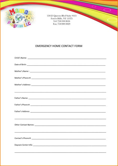 emergency contact form template emergency contact template authorization letter pdf