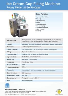 pws engineers ice cream cup filling machine manufacturer india ice cream cone filling machine