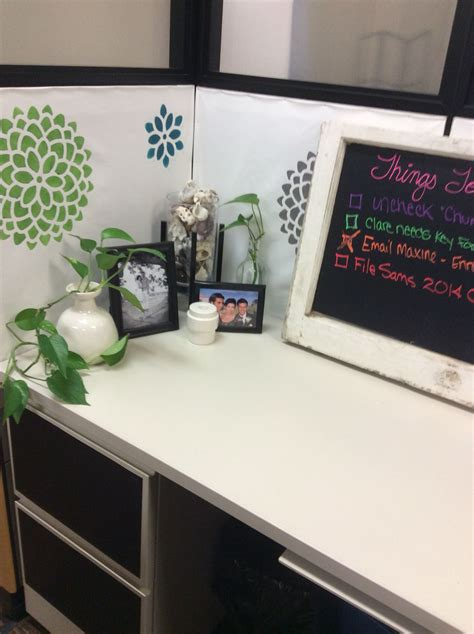 cubicle makeover drawers covered  chalk board contact