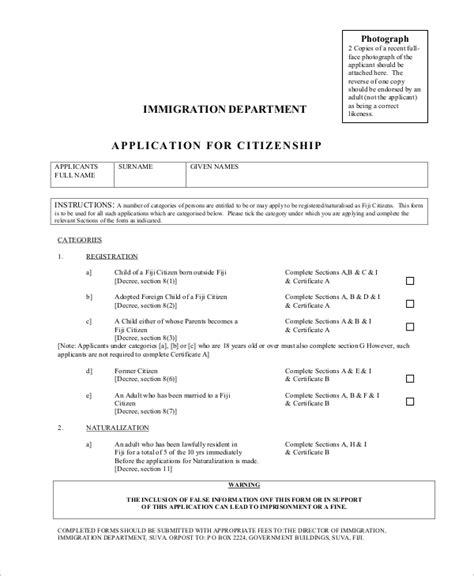 www citizenship application form 7 sle citizenship forms sle templates