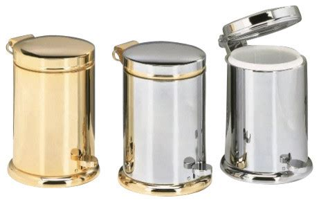 Chrome Bathroom Trash Can With Lid by Harmony 737 Luxury Waste Basket Contemporary