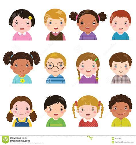 set   avatars  boys  girls stock vector