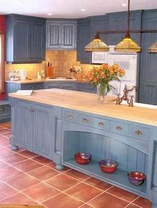Blue Cabinets With Saltillo Look Tile Floors And