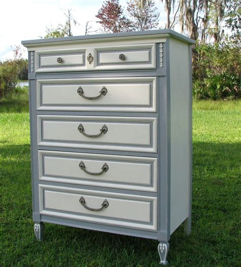 painted shabby chic furniture shabby chic dresser painted furniture gray and white french provincial style 325 00 via