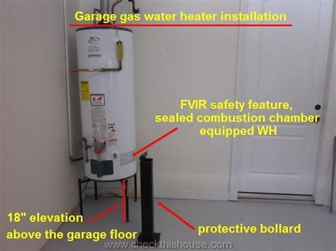 Garage Gas Water Heater Raised Above the Floor FVIR Safety