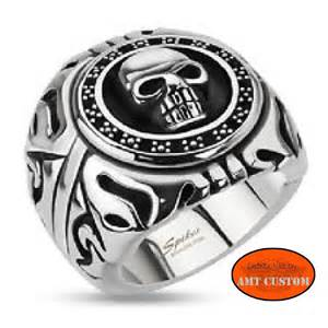 mens skull wedding rings bague université skull tête de mort biker amt custom shop