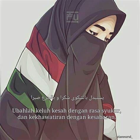 gambar kartun muslimah bercadar cantik berkacamata