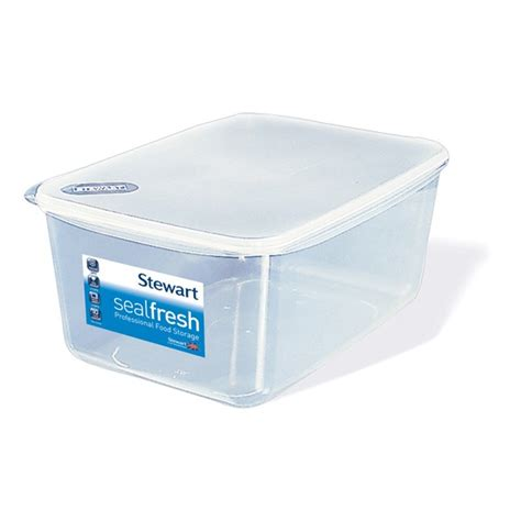 plastic storage containers for kitchen stewart sealfresh clear rectangular container 7 5 litre 7506