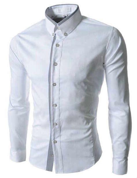 jual kemeja pria putih baju tangan lengan panjang katun stretch motif abu cowok slim fit
