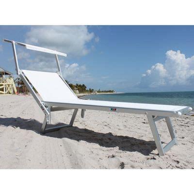 nanni beach sling chaise lounge  sun shade aluminum white nu cl cozydays