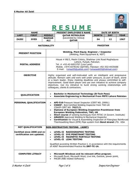 sle resume for welding position re work procedure