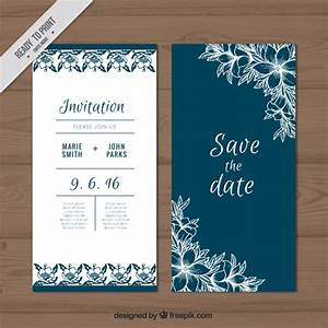 cute wedding card with sketches flowers vector free download With wedding invitation design freepik