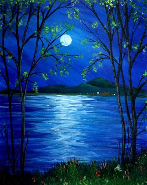 beautiful moonlight reflection painting gallery