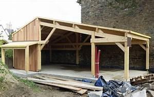 construction garage ossature bois rennes charpentier With construction garage en bois