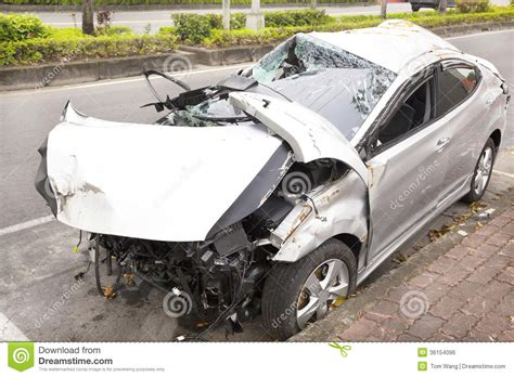 animated wrecked car accident and wrecked car on the road royalty free