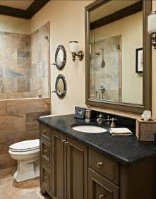 large bathroom ideas large wood mirro and classic black wooden vanity for masculine guest bathroom design ideas