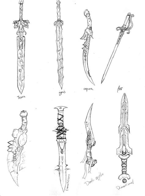 Coloring Exles by Sword Set By Xildaen Cool Sword Illustrations