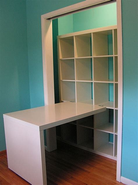 craft closet with ikea shelves desk home getting