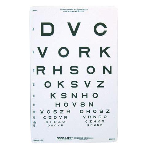 sloan letter eye chart  distance eye cards eye charts vision assessment