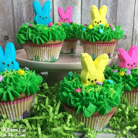 peeps easter bunny cupcakes kitchen fun    sons