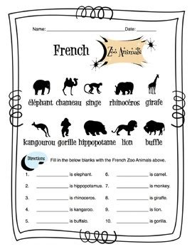 french zoo animals worksheet packet by sunny side up