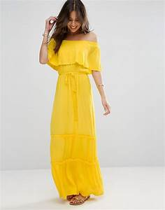 asos tiered off shoulder maxi dress yellow gay times With robe longue a volant