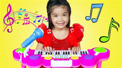 Hana & Cherry Pretend Play With Guitar Piano & Drum Toy