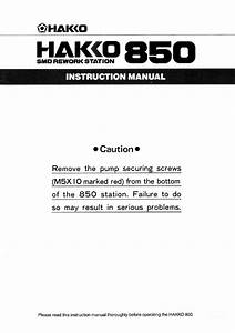 Hakko 850 Smd Rework Station Instruction Manual Service