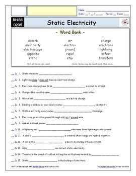 Differentiated Video Worksheet, Quiz & Ans For Bill Nye  Static Electricity